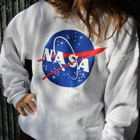 NASA Fashion Print Loose Top Sweater Sweatshirt