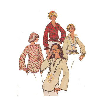 1970s Boho Hippie Pullover Peasant Blouse with Style Variations Bust 30 to 32 Simplicity 6777 Embroidery Transfer Vintage Sewing Pattern