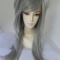 ON SALE / Gun Metal / Silver Grey / Long Straight Layered Wig Halloween Holiday