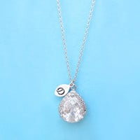 Cubic, Initial, Necklace, Crystal, Simple, Modern, Necklace, Silver, Jewelry, For, Mom, For, Her, For, Best, Friend, Simple, Dainty