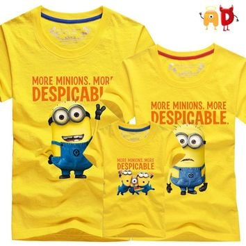 AD 1pcs Family t shirts Quality Cotton minion Father Mother and Kids T-shirts Children Clothes Clothing for Boys Girls roupas