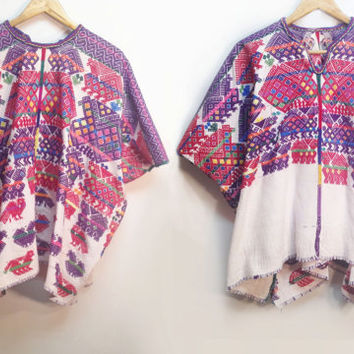 Vintage 60s 70s Guatamalan Artisan Made Huipil || Size Small to Medium. Ethnic Handwoven Poncho. Mexican Fringe Cape.