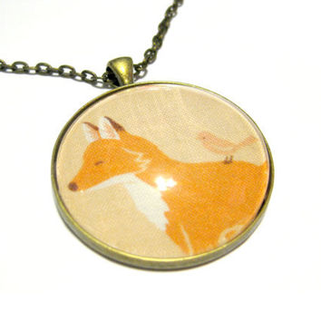 Fox Pendant, Fox Necklace, Antique Brass Necklace, Women's Jewelry, Glass Cabochon