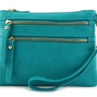 Turquoise Multi Zipper Cross Body.  Several Colors. Can Be Used As Wristlet Also.  PU Leather.