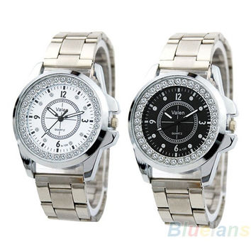 New Fashion Women's Quartz Disc With Diamond Inlay Stainless Steel Wrist Watch = 1956826756