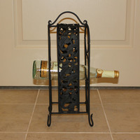 Decorative black iron wine rack - Wine holder, gift idea, black home decor, bar accessory