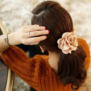 DCCKWJ7 1Pc 2016 New Fashion Elgant Women Hair Band Rope Elastic Rose Flower Ponytail  Holder Scrunchie Party Accessories Hot