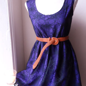 Halloween Party Dress Purple and Black Lace Cobweb Spider Dress (xs s m l xl xxl xxxl)