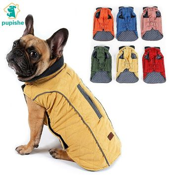 PUPISHE Pet Jacket  Dog Clothes Winter Quilted Dog Coat Water Repellent Winter Dog Vest Retro Cozy Warm Pet Outfit Clothes