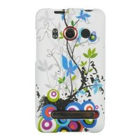 White Spring Flower Design Protector Case Snap On Hard Cover for HTC EVO 4G S...