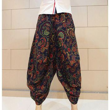 Free shipping Male fluid bloomers Indian Nepal Baggy Harem Pants Casual Slacks Big crotch pants national trend culottes MP09