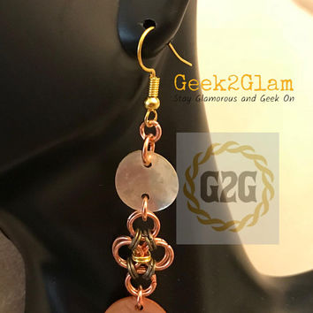 Copper Bronze and Gold Chain Maille Earrings with Chinese Muscle Shell circles in opalescent and copper chainmail jewelry
