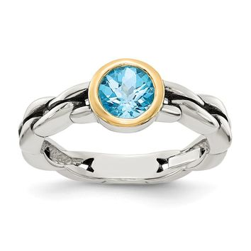 Sterling Silver Two Tone Silver And Gold Plated Sterling Silver w/Sky Blue Topaz Ring