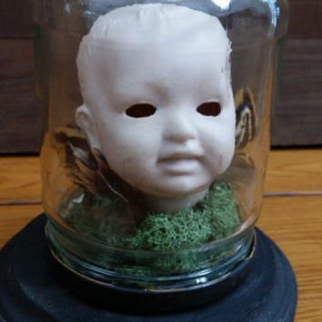 Head Inside Altered Art Vintage Doll Head In a Jar Great Creepy Decor