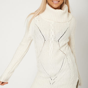 Cowl Neck Ribbed Chunky Knit Cream Jumper Sweater