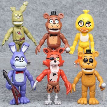 6pcs/lot  10cm In Stock  At  4  Foxy Chica Bonnie Freddy Action Figures Kid Toy Christmas Gifts