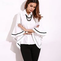 Elegant Sleeve Blouse-White