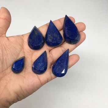 "6pcs, 55.5g,1""-1.8"" Natural Lapis Lazuli Faceted Cabochons @Afghanistan,CP49"