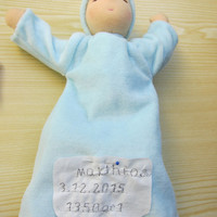 Mia or Mathias sleeping doll in pink or blue, personalized with birth data OOAK