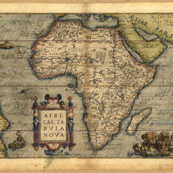 Map Of Africa From The 1500s 034 Ancient Old World Cartography Exploring Safari Sailing Vintage Digital Image Download Last Minute
