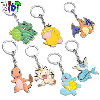 7 type  Go Pocket Monsters keychain metal pendant key chains High quality chaveiro charms keyring colours toys jewelryKawaii Pokemon go  AT_89_9