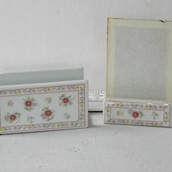 Vintage Porcelain Desk Set , Ladies Desk Decor: 2 Piece Envelope and Note Pad Holder Pink and White Floral Shabby Chic Style , Made in Japan
