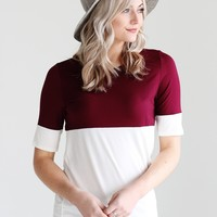 Burgundy DLMN Relaxed Fit Color Block Tee