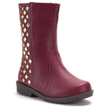 Girls Chloe Tall Studded Biker Inspired Boots