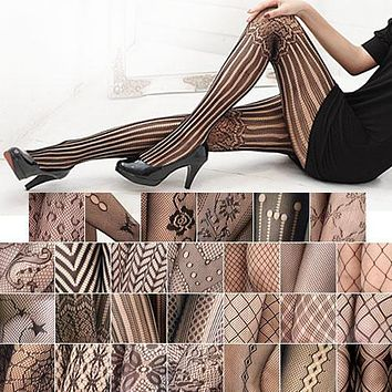 Bohemian  Hot Fashion Women Black Fishnet Pattern Jacquard Calcetines Leg Warmers Stockings Pantyhose Tights 27 Style