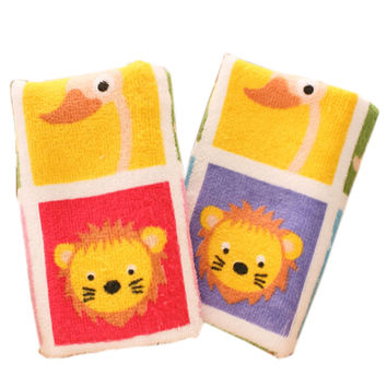 Set Of 2 Unique Colorful Animals Soft Cotton Baby Washcloths Toldder Facecloths