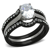 Two-Toned Stainless Steel with Black Ion Plating Oval Cubic Zirconia Wedding Rin