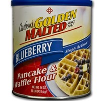 Golden Malted Pancake & Waffle Flour, Blueberry, 16-Ounce Cans (Pack of 4)