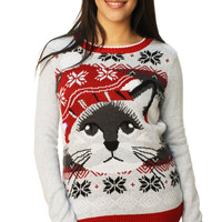Ugly Christmas Sweater Women's Christmas Kitty LED Light Up Sweater