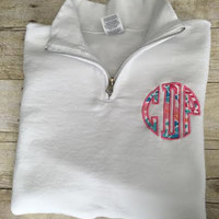 Lilly Pulitzer Monogram Quarter Zip Sweatshirt, Lilly P Applique Monogram Quarter Zip