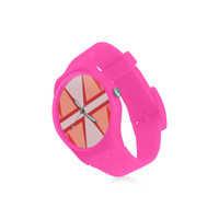 Shades of Red Patchwork Round Plastic Watch(Model 304) | ID: D2801751