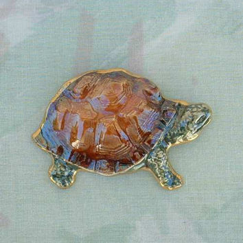 Large Ceramic Turtle Pin Brown Green Gold Glaze Reptile Figural Jewelry