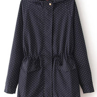 Polka Dot Casual Long-Sleeved And Long Sections Windbreaker Jacket Waist