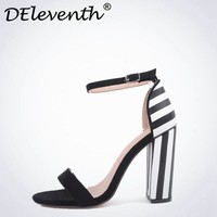 DEleventh Concise womens sandals summer 2017 Striped Buckle Strap Shoes Sandals Open toe Block heel Shoes sandals for women