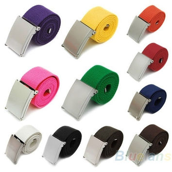 New Candy Colors Mens Boys Unisex Plain Webbing Cotton Canvas Metal Buckle Belt = 1929857796