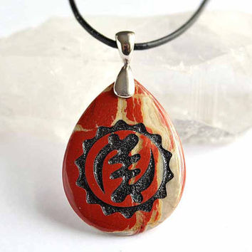 Nyame Ye Ohene - God is King - African Adinkra Symbol - Engraved Stone Pendant - Red Jasper