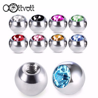 10pcs/lot Crystal Screw Hole Head Stainless Steel Ball Mixed Colors 16/14G Lip Tongue Ring Ear Belly Eyebrow Body Piercing PLP08