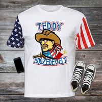 Teddy Boozedevelt, Stars and Stripes, 4th of July, Fourth, Independence Day T-shirt, Shirt United States, Drinking Merica cool USA-006