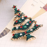 Cute New Year Christmas Tree Xmas Gift Alloy Brooch Pin Party Decoration new arrival