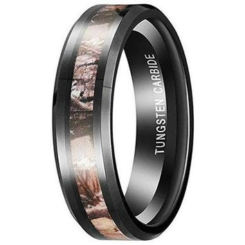 6mm Tungsten Carbide Red Forest Camo Hunting Band Engagement Wedding Ring