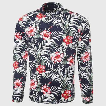 Men Flower Shirt Tropical Palm Print Shirt Casual Floral Pattern Mandarin Collar Male Clothing