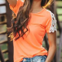 Orange and Gray Cut Out Lace T-Shirt