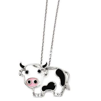 Cheryl M Sterling Silver CZ Enamel Cow Necklace