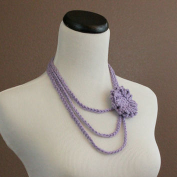 Flower Necklace Crochet Necklace Flower Brooch Layered Necklace Lavender