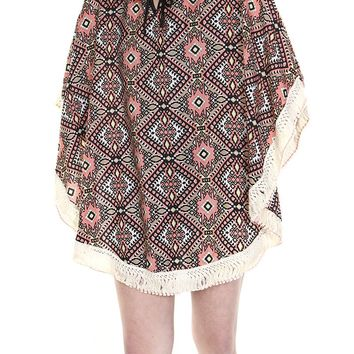 Coral Red Tribal Print Coverup Poncho Scarf