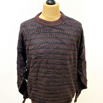 Vintage 80s Jantzen Classic Red Pattern Indie Sweater Jumper L